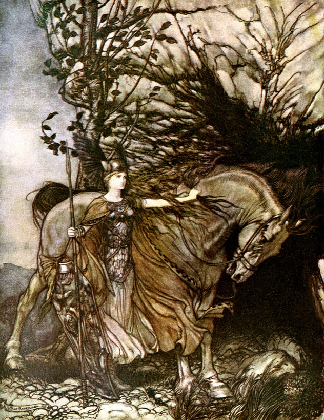 arthur rackham_the ring of the niblung_the valkyrie_08