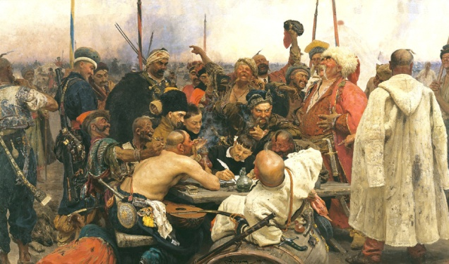 The_Zaporozhian_Cossacks_write_a_letter_to_the_Sultan_of_Turkey._1880_1891._Oil_on_canvas._358_203cm