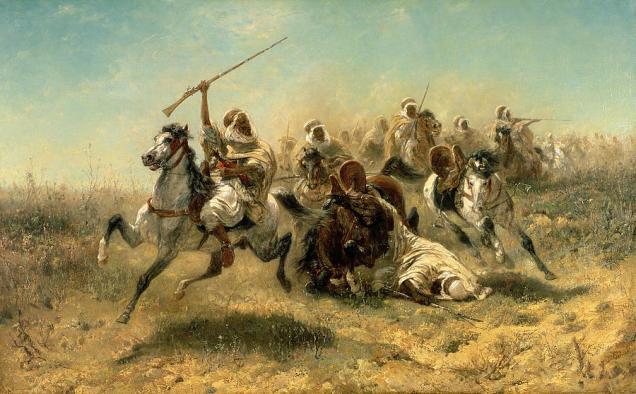 arab-horsemen-on-the-attack-adolf-schreyer
