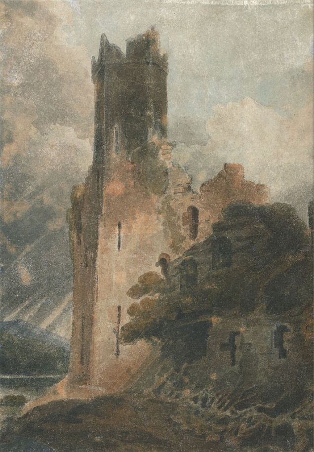 A Castle Tower (Caenarvon Castle) wattercolour 27.9 x 19.7 cm