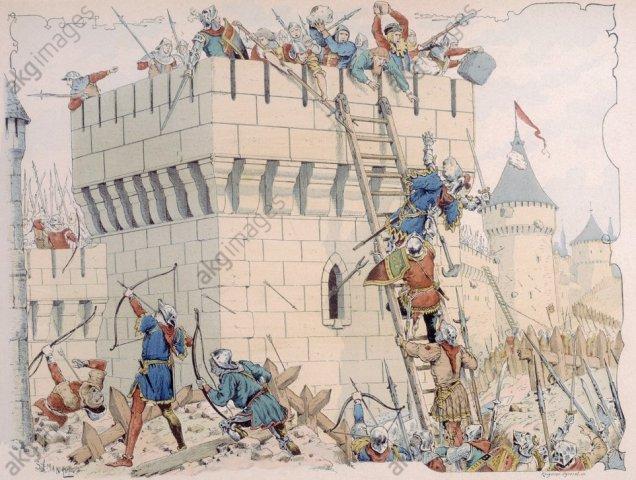 Duguesclin belagert Melun / Lith. - Duguesclin besieging Melun / Lithograph - Du Guesclin / Siège de Melun / Lith.coul